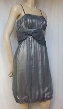Monsoon Cocktailkleid 42 grau Tüll Hochzeit Abschlussball-Kleid Schleife