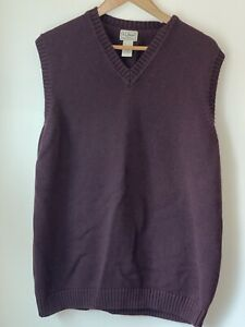 L.L. BEAN V-NECK COTTON SWEATER VEST MENS -XXL Tall 2XLT Maroon Red Purple B39