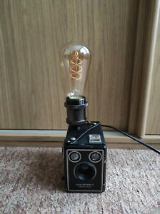 Camera Lamp Industrial Retro Vintage Upcycled Kodak Brownie Target Box Film LED