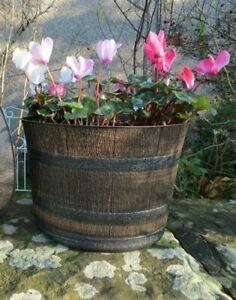 Large 32cm Planter Pot Whisky Barrel Plastic Plant Flower Herb Pot Garden Patio
