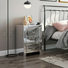 Mirrored Bedside Tables 3 Drawer Nightstand Side Table Cabinet Bedroom Furniture