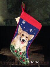 Corgi Dog Needlepoint Christmas Stocking NWT