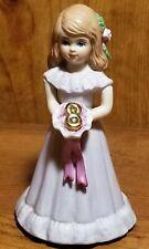 Vintage 1982 Enesco Brunette Growing Up Girl Birthday Girl Age 8 Figurine