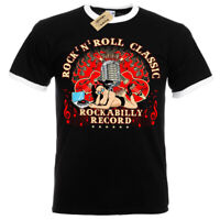 Rock n Roll Classic T-Shirt Rockabilly record Mens RInger