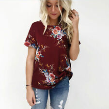 UK Plus Size Womens Holiday Tops Summer Beach Ladies Floral Blouse T Shirt 6-20