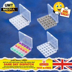 25 Spools + Empty Bobbins Case Organiser Sewing Machine Bobbin Clear Box Storage