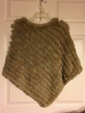 BLACK RIVET Poncho / Cape ~ Rabbit Fur / Wool Blend; SAGE GREEN; One Size; NWOT