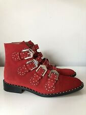 Givenchy Studded Buckle Boots Red Suede Eur 39 AUTHENTIC