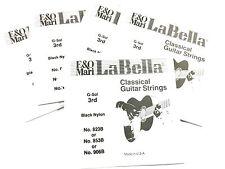 """La Bella Guitar Strings - 5 """"G"""" 3rd Strings 823B / 853B / 906B Black Nylon"""