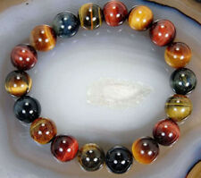 10mm Natural Colorful Tiger's Eye Stone Round Beads Stretchy Bracelet Bangle