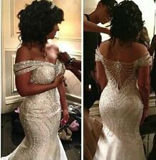 Luxury Rhinestone Beaded Mermaid Wedding Dress Crystal Off Shoulder Bridal Gowns