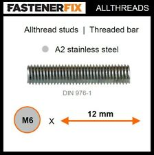 M6 x 12 mm allthread A2 stainless studs, threaded bar to DIN 976-1 (200 pack)