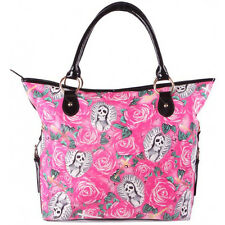 Women's Iron Fist Beautiful Sinner Tote Pink Guadalupe Skull Skeleton Roses Punk