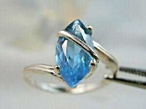 TOPAZ - Genuine Swiss Blue Topaz Sash Marquise .925 Sterling Silver Ring 1.88ct.