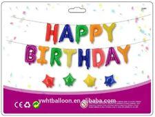 """16"""" Multi Colore Happy Birthday Banner Foil Balloon Bunting Palloncini Con Stringa"""