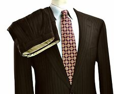 Brioni Nomentano Super 170's Suit 42L 36X34 Large Long Brown Stripe Side Vents