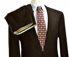 Brioni Nomentano Super 170's Suit 42L 36X34 Large Long Brown Stripe Side Vents
