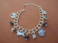 Pembroke Welsh Corgi Dog Charm Bracelet with Purple & Silver Swarvoski Crystals