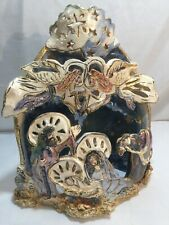 Heather Goldminc Royal Collection Tealight Manger Nativity Christmas Blue Sky