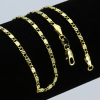 18K Gold Plated Stainless Steel Men Women Cuban Link Curb Chain Necklace 2.5mm