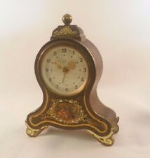 Vintage Emes Musical Mantel Alarm Clock MADE IN GERMANY Goldtone Metal Tabletop