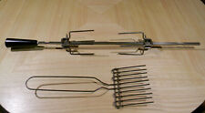 Farberware Rotisserie Open Hearth Grill Spit Rod, Meat Holding Forks & Spatula