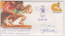 Stamp 1985 World Cup Athletics PSE CASTERTON Gift 1600m signed Young & Watkin