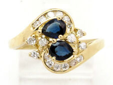 Round Diamond Right Hand Ring 1.07ct 14k Yellow Gold Pear Sapphire and