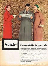PUBLICITE ADVERTISING 104  1956  SURALO   imperméable femme & homme