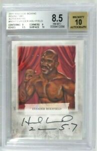 EVANDER HOLYFIELD 2011 RINGSIDE ROUND 2 SIGNED AUTOGRAPH CARD BGS 8.5 AUTO 10