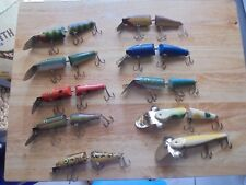Vintage Wooden Jointed Fishing Lures - Set of 10