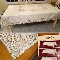 "New FANCO 86""X68"" Satin Damask Tablecloth & Napkin Set White & Green/Gold Floral"
