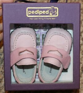 New! Girls Pediped Charlie Loafer Crib Shoes (No laces to tie! Pink) Size 0-6 m