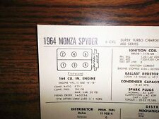 1964 Chevrolet Corvair SIX 600 Series Turbo Charged Monza Spyder Tune Up Chart