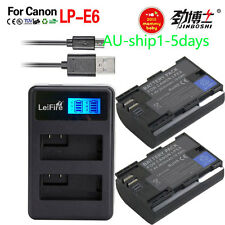 2xLP-E6 Battery+LCD DUAL Charger For Canon EOS 5D Mark II III EOS 70D 7D 60D 80D