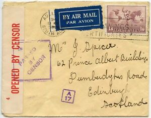 AUSTRALIA CENSORED + A17 BOXED AIRMAIL 1941 ADELAIDE to SCOTLAND
