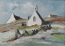 """PEINTURE """"CARNAC ,UN PETIT VILLAGE"""" circa 1940/1950.la chapelle Saint-Michel"""