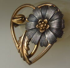 Antique Gold and Silver tone Flower Heart brooch