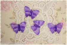 5 Perle Farfalla  Colore VIOLA plastica  trasparente 3 x 4 cm