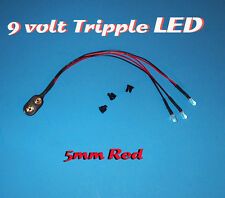 ONE PRE WIRED LED 9 VOLT TRIPPLE RED WITH 9V SNAP PREWIRED TRIPLE (Halloween)