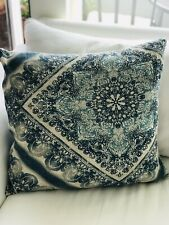 Pottery Barn Mandala Block Print Pillow Cover Blue Tan & Gray Boho ~ EUC
