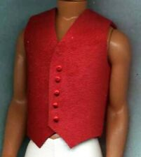 KEN DOLL CLOTHES BRIGHT RED VEST - GENUINE LEATHER W/ RED BUTTONS - LINHILL