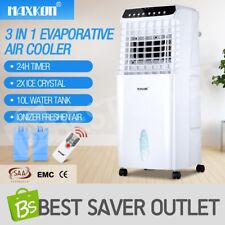 Portable Evaporative Air Cooler Fan Ionizer Humidifier Conditioner Cooling 10L