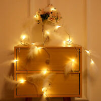 LED Fluffy Feather Fairy String Lights Battery Operated Bedroom Home Decor*-