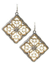 Square Drop Dangle Gold Silver Tone Women Fashion Jewelry Earrings
