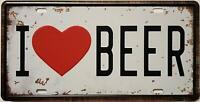 I Love Beer Retro Vintage Auto License Plate Tin Sign Embossed Tag Size 6 X 12