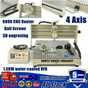 6090 USB CNC 4 Axis Router Engraver Engraving Milling Carving Machine 1.5KW VFD