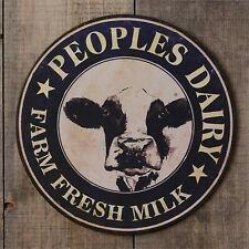New Country Peoples Dairy wall Sign in distressed Tin