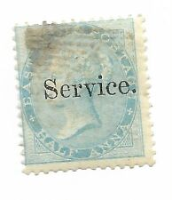 India 1866 1/2A Pale Blue  Official No Watermark. Fine Used. SG O2