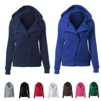 Womens Winter Zip Up Jumper Tops Hoodie Hooded Sweatshirt Pullover Coats Jacket